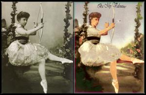 Valentines card based on 1921 photo of a Russian Ballerina - Before and After